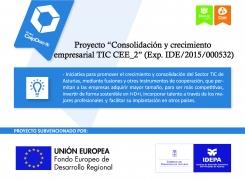 """Proyecto """"Consolidación y crecimiento empresarial TIC CCE_2"""", (Exp. IDE/2015/000532)"""